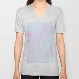 Abstract teal magenta pink watercolor marble pattern Unisex V-Neck