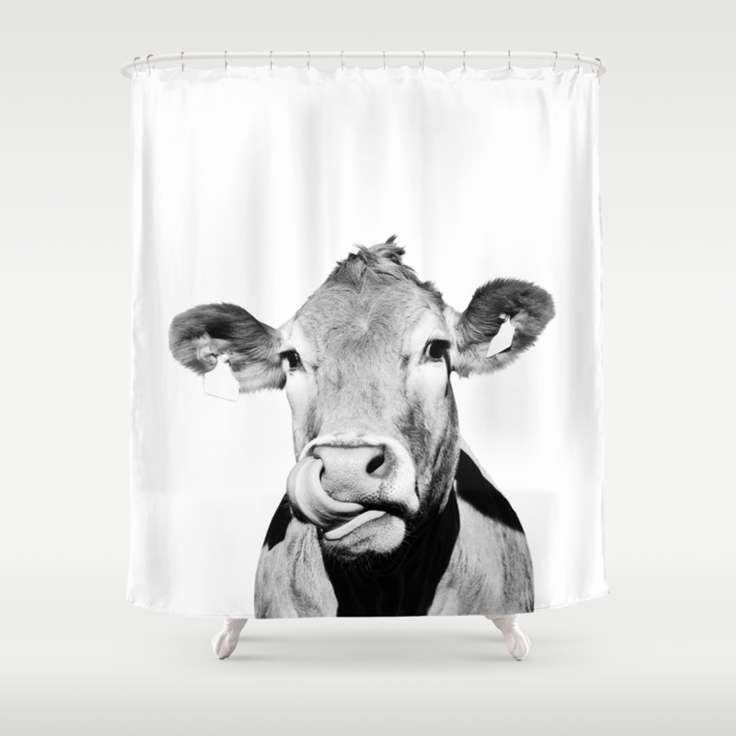 Cow photo black and white shower curtain