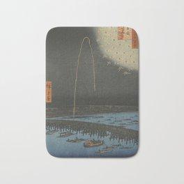 Utagawa Hiroshige - Fireworks at Ryōgoku Bridge - Japanese woodblock print - Edo Period - ukiyo-e Bath Mat