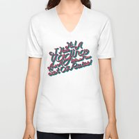 vagina V-neck T-shirts featuring Vagina Rules by Tim Malstead