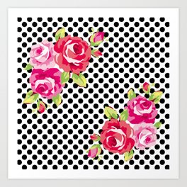 Roses on black dots Art Print