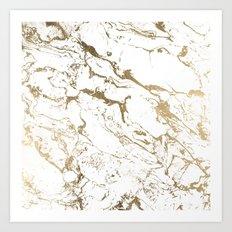 Modern chic faux gold white marble pattern Art Print