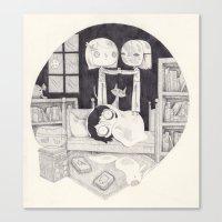 neil gaiman Canvas Prints featuring neil gaiman by yohan sacre