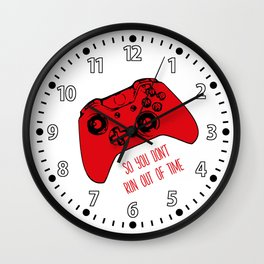 Video Game White and Red Wall Clock