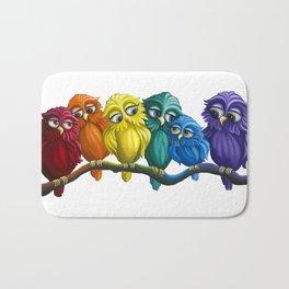 Rainbow Owls Bath Mat