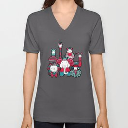 Doodle Animal Friends Pink & Grey Unisex V-Neck