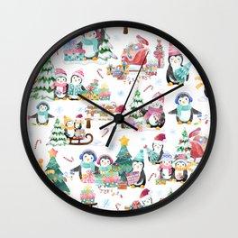 Winter Watercolor Holiday Penguins Wall Clock