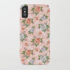 Watercolor roses iPhone X Slim Case
