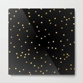 Gold Confetti on Black Metal Print