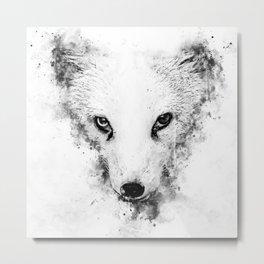 arctic fox bicolor eyes ws bw Metal Print