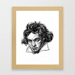 Ludwig Van Beethoven line drawing Framed Art Print