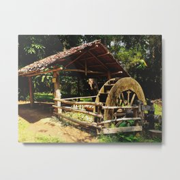 Folksy Water Wheel Metal Print