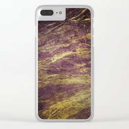 Classic Vintage Eggplant-Plum Faux Marble With Gold Veins Clear iPhone Case