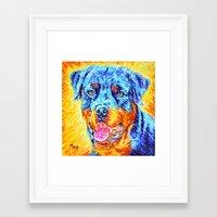 rottweiler Framed Art Prints featuring Rottweiler by LiliyaChernaya