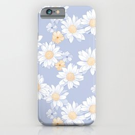 Daisies - White and Blue Retro Bloom iPhone Case