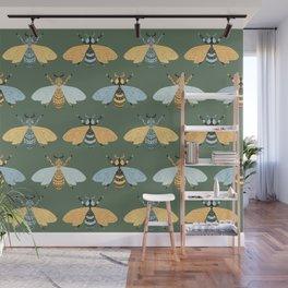 Honey Bees Pattern - Dark Green Backgound Wall Mural