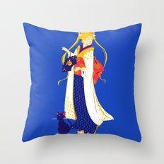 Geisha Moon Throw Pillow