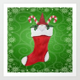 Cute Gnome in Red Christmas Stocking Candy Canes Holly Leaves Art Print