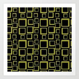 Gold Squares On Black Art Print