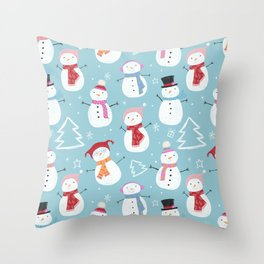 Fun Christmas Snowmen Throw Pillow