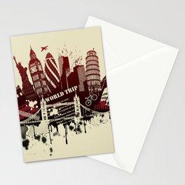 figures on international sites in grunge illustration Stationery Cards