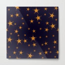 Shining Stars Seamless Pattern Metal Print