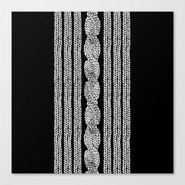 Cable Stripe Black Canvas Print
