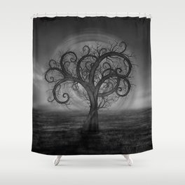 Golden Spiral Tree Black and White Shower Curtain