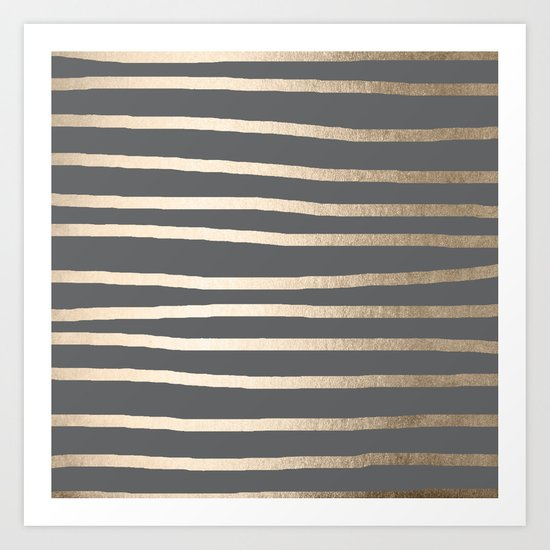 Simply Drawn Stripes White Gold Sands on Storm Gray Art Print