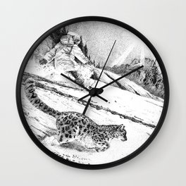 Snowboarder and snow leopard down the slope Wall Clock