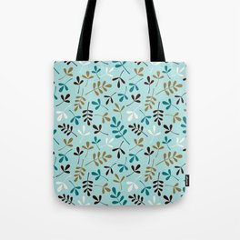 Assorted Leaf Silhouettes Teals Cream Brown Gold Ptn Tote Bag