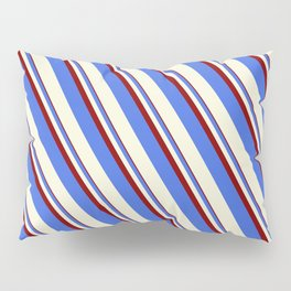 Maroon, Royal Blue, and Beige Colored Striped Pattern Pillow Sham