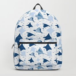 Blue stingrays // white background Backpack