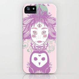 Witch, Third Eye, Moon Phases, And Owl iPhone Case