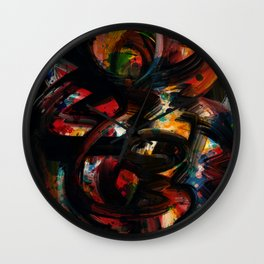 Back to Black Abstract Art Expressionism Wall Clock