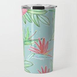 Tropical Flowers Soft Blue Background Travel Mug