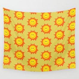 Happy Cartoon Sun Pattern Wall Tapestry