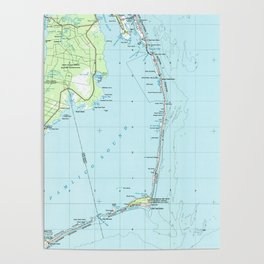 Vintage Southern Outer Banks Map (1957) Poster