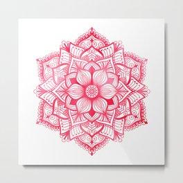 Mandala in red, watercolor Metal Print