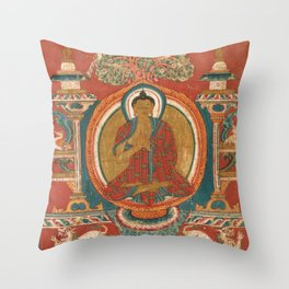 Preaching Sakyamuni 11th Century Tibetan Buddhist Art Throw Pillow