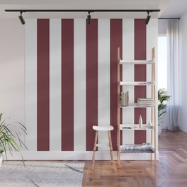 Wine purple - solid color - white vertical lines pattern Wall Mural