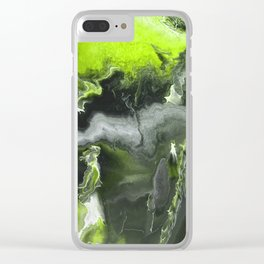 Lime Green Lightning Clear iPhone Case