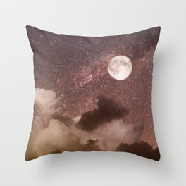 Celestial Night Sky and Full Moon Throw Pillow