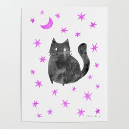 Black Cat with Pink Stars Poster