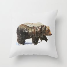 Arctic Grizzly Bear Throw Pillow