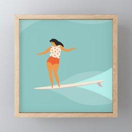 Surf girl Framed Mini Art Print
