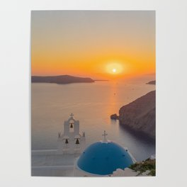 Three Bells Santorini Poster