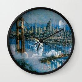 Window Reflection 002 (Horses/Golden Gate) Wall Clock