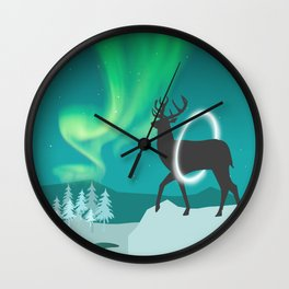 Magic Deer of the North Selas Aurora Borealis Wall Clock