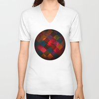 fabric V-neck T-shirts featuring Grid fabric by Tony Vazquez